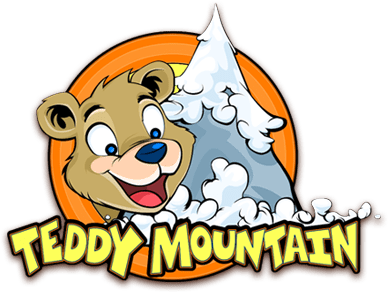 The Teddy Mountain logo - the brand of create a bear at our theme park in Devon